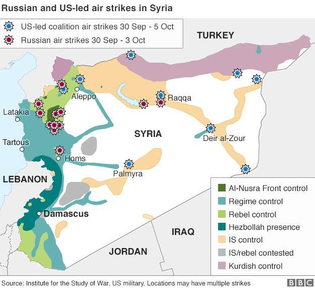 シリアにおけるアメリカとロシアの空の衝突
